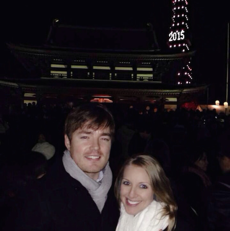 In front of Tokyo Tower after the midnight countdown