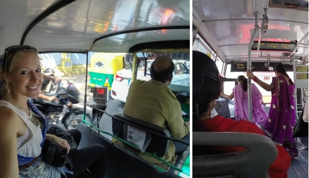 Traveling by Bus & Rickshaw in India