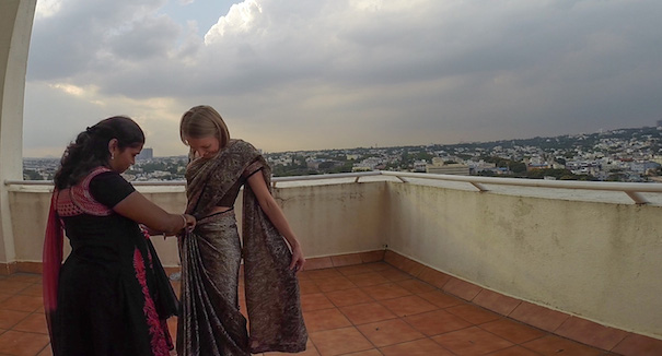 Learning how to dress in a saree